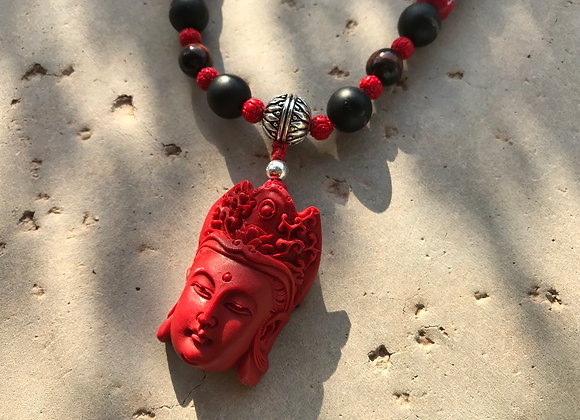 Custom Siddha Amulet Mala with Onyx, Snow Quartz and Red Tigereye