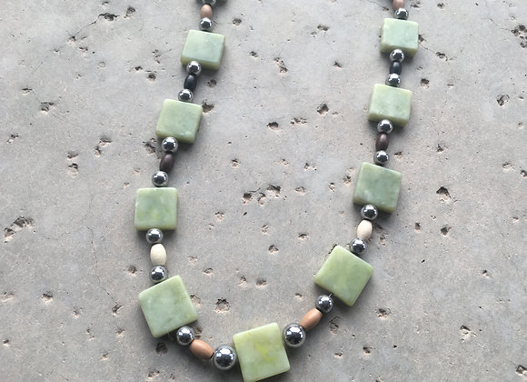 Olive New Jade, Wood and Metal Necklace