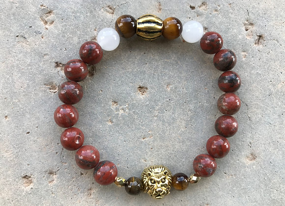 Red Sesame Jasper, Snow Quartz and Tigereye Lion Head Bracelet
