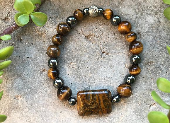 Tigereye and Hematite with Rectangle Tigereye Focal Bracelet