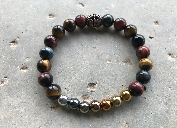 Multi-colored Tigereye and Multi-Colored Hematite Bracelet