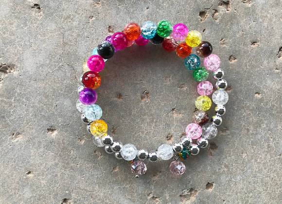 Brightly Colored Crackle Glass with Crystal Drop Wrap Bracelet
