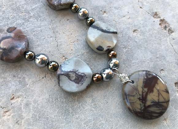 Crazy Lace Jasper with Hematite and Marble Pendant Necklace