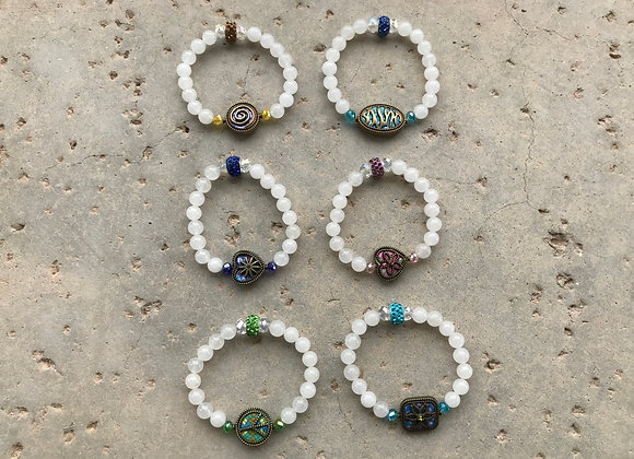 Snow Quartz and Crystal Glass with Pewter Encased Colorful Focal Bracelet