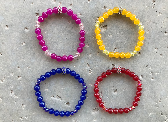 Colorful Jade and Crystal Glass Bracelet - Multiple Colors