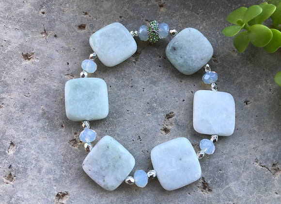 New Jade Squares with Faceted Moonstone Bracelet