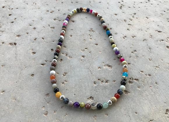 Multi-Gemstone Elastic Stretch Necklace