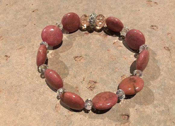 Rhodochrosite and Crystal Glass Stretch Bracelet