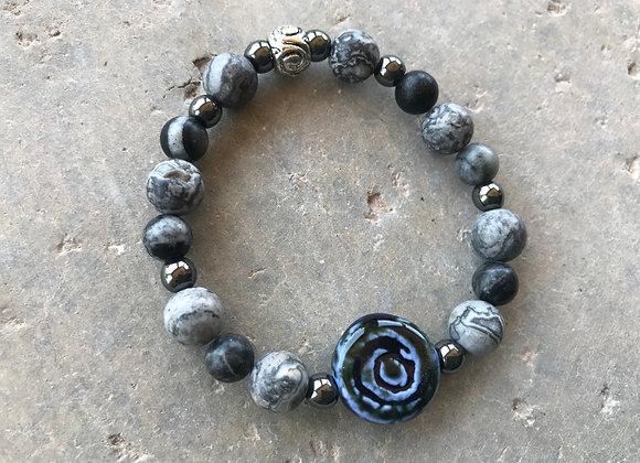 Mapstone with Hematite and Porcelain Swirl Focal Bracelet