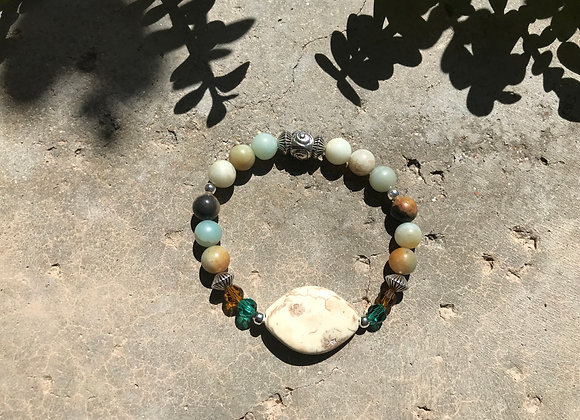 Jade Jasper and Crystal with Reconstituted Stone Focal Bracelet