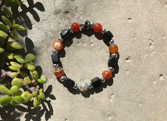 Red Agate with Blackstone and Metal Beads Bracelet