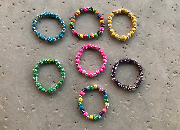 "7"" Wood Flower Bracelet - Multiple Colors"