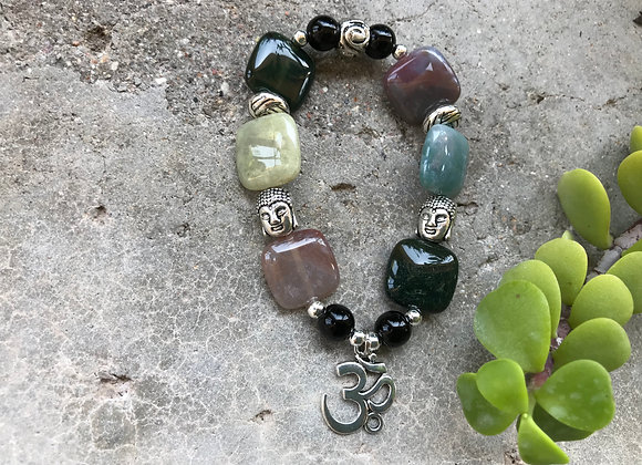 Fancy Jasper and Black Jade with Two Buddha Heads and OM Symbol Charm Bracelet