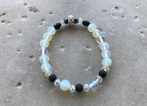 Moonstone, Onyx, Hematite and Crystal Bracelet
