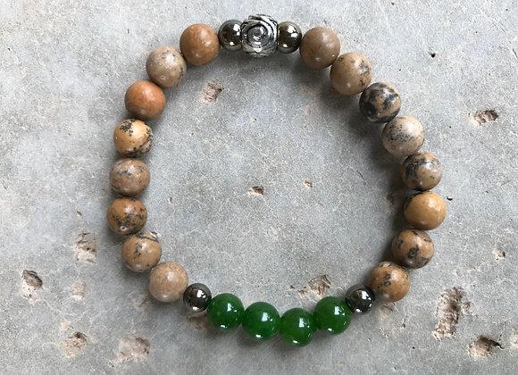 Grain Stone, Green Jade and Hematite Bracelet