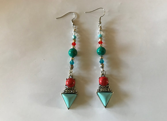 Magnesite and Crystal Glass with Southwestern Style Triangle Drop Earrings