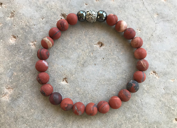 "7"" Red Creek Jasper and Hematite Bracelet"