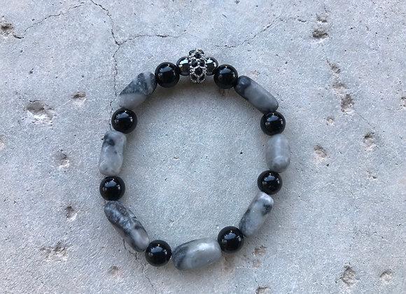 Grey Marble and Onyx Bracelet