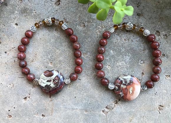Red Sesame Jasper and Rainbow Rhyolite Focal Bracelet