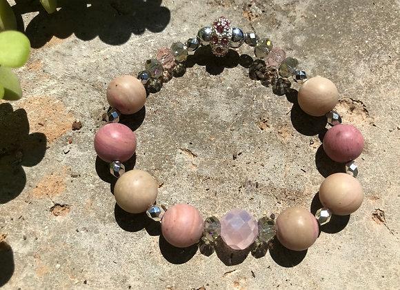 Rhodochrosite and Crystal Glass Bracelet