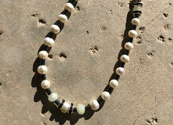 Freshwater Pearl, Hematite and Crystal Necklace