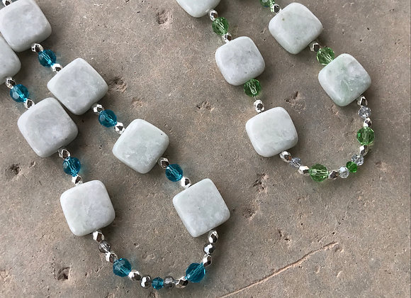 New Jade with Crystal and Metal Beads Necklace