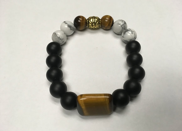 Onyx, Tigereye and Howlite with Rectangle Tigereye Focal Bracelet