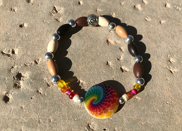 Wood and Colrful Sean Beads with Rainbow Swirl Focal Bracelet