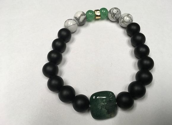 Onyx, Jade and Howlite with Fancy Jasper Focal Bracelet