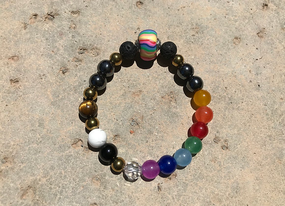 Colorful Jade, Tigereye, Howlite, Lava Stone with Rainbow Spacer Chakra/P