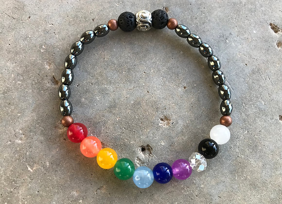 Colorful Jade, Lava Stone Diffusers and Hematite Bracelet