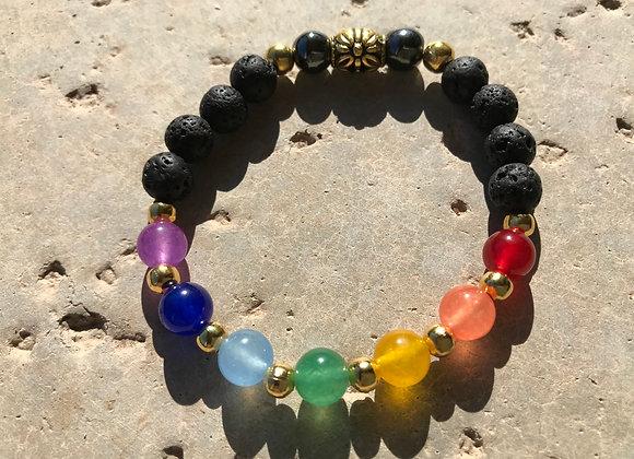 Multi Colored Jade, Lava Stone and Hemtite with Metal Bead Chakra/Pride Bracelet