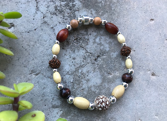 Wood, Metal and Resin Beads Bracelet