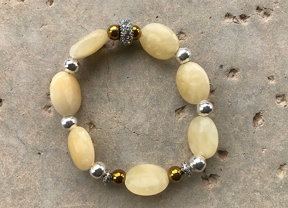 Calcite and Hematite Bracelet