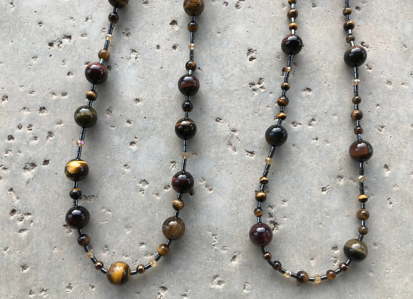 Tigereye, Tiger Iron, Hematite and Crystal Necklace - Two Styles
