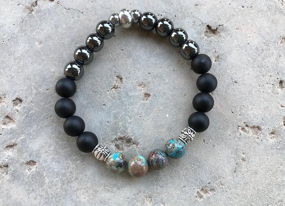 Chrysocolla, Onyx and Hematite Bracelet