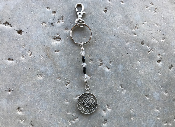 Pewter Inspirational Symbol Charm and Crystal Glass Key Ring