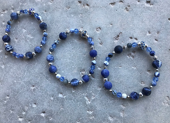 Sodalite, Hematite and Crystal with Fancy Rondelle Bracelet