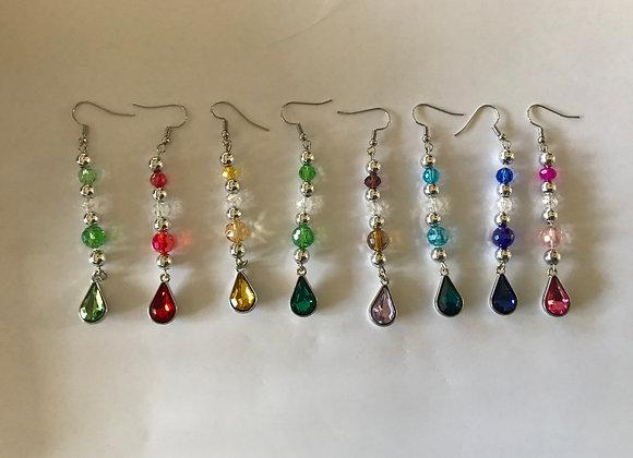Crystal Glass Teardrop Drop Earrings