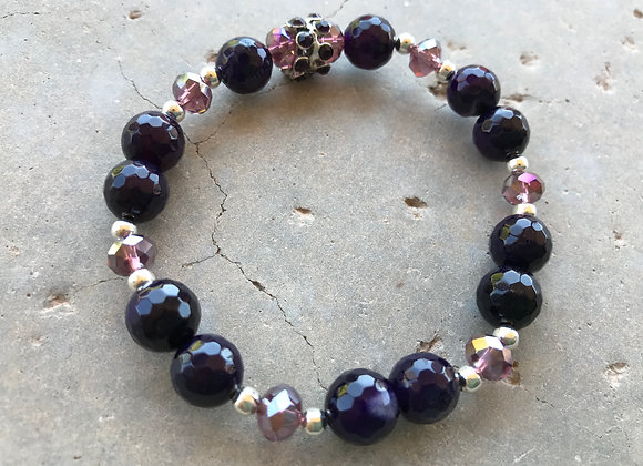 Faceted Eggplant Purple Agate and Crystal Glass Bracelet
