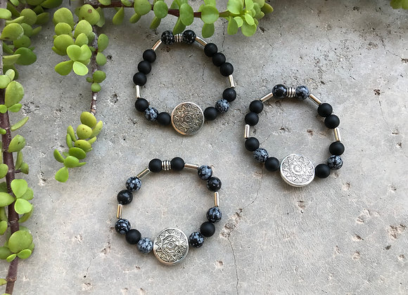 Snowflake Obsidian and Onyx with Sun Focal Bracelet