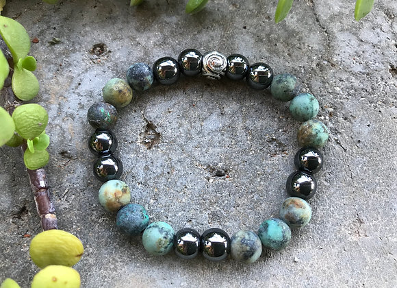 African Turquoise and Hematite Bracelet