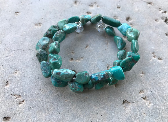 Genuine Turquoise Nugget Wrap with Crystal Glass Bracelet