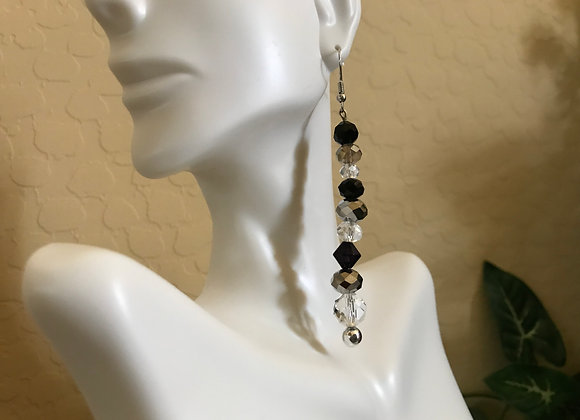 "6"" Long Mirrored Smoke, Black and Clear Crystal Glass  Earrings"