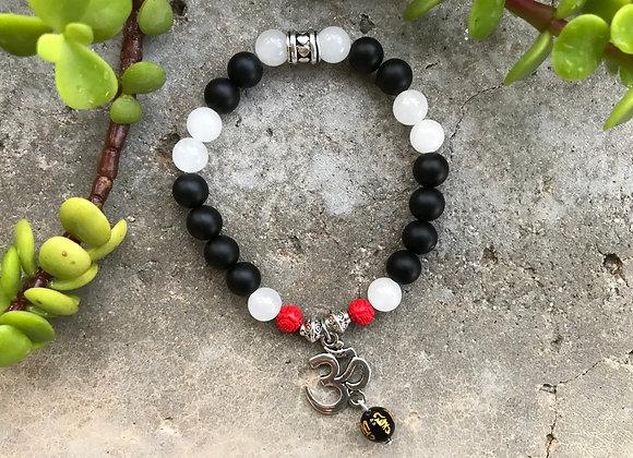 Onyx, Snow Quartz and Cinnabar with Om Charm Bracelet