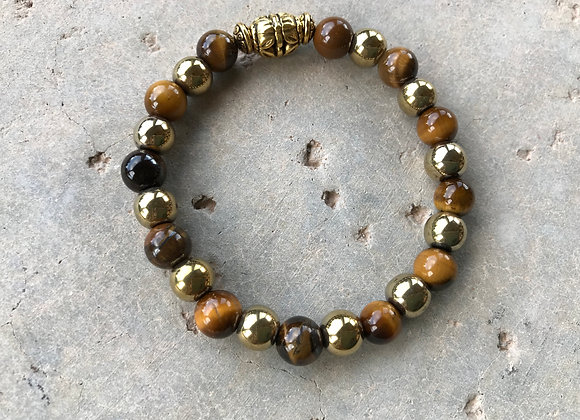 Tigereye and Goldtone Hematite Bracelet - Large