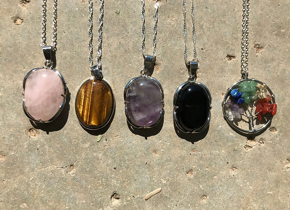 Gemstone Pendant on Silver Plated Chain Necklace - Mutiple Styles