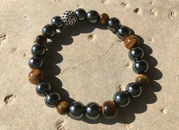 Tiger Eye and Hematite Stretch Bracelet