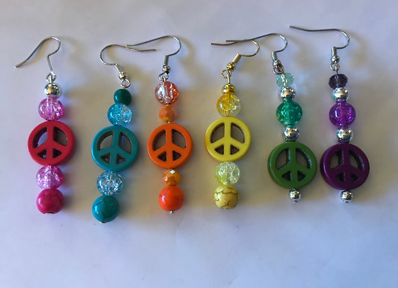 Dyed Magnesite and Crackle Glass Peace Sign Earrings- Multiple Colors