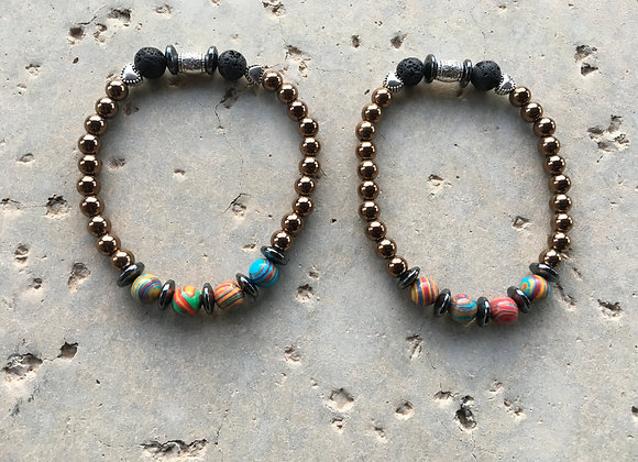Malachite (Dyed), Hematite and Lava Stone with Heart Spacers Bracelet